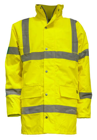 A Yellow High Visibility (Hi Vis) Safety Jacket, Isolated On A White Background