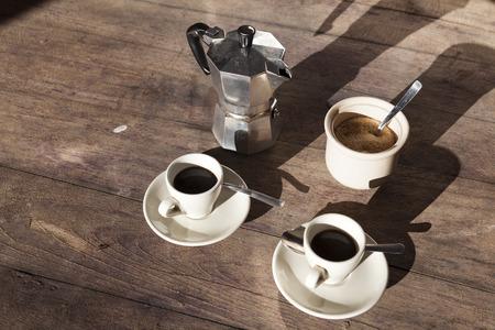 coffe break: Traditional home style coffe break in Italy. The moca.