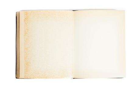 vintage photo album: Vintage photo album with yellow pages. Zenithal cut. isolated on white Stock Photo