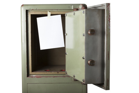 disrupt: Theft. Domestic burglary. Safe box armoured emptied by thieves with message of thanks on paper - left blank. Write on it. Isolated on white