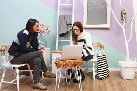 Readhead girl teacher with glasses tutoring female student with laptop. Handmade design furniture and accesories. Colored background and white ladder hanger. White framed blackboard. photo