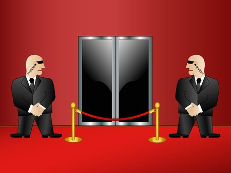 bodyguard: Two security guards on an entrance in a premise. Rasterized vector.