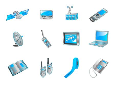 pager: Blue navigator icon set