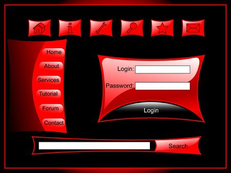 lustre: Web page set include himself buttons of tools, menu, login form, search bar