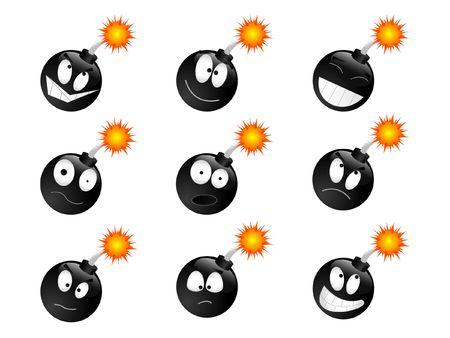 explosive sign: Set of smiling bombs Stock Photo