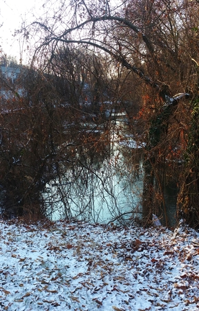Brookcreekstream in Baltimore,MD.  Edge of the woods.  Snow on the ground.  Railroad track in the background.