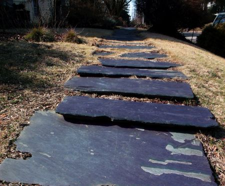 Slate walkway in a residential neighborhood in Roland Park (Baltimore,MD).