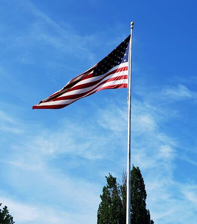 American flag, high atop flag pole, waving in the breeze above Patterson Park (Baltimore,MD). Banco de Imagens