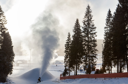 pressurized: Snowmaking is the production of snow by forcing water and pressurized air through a snow gun or snow cannon, on ski slopes. Snowmaking is mainly used at ski resorts to supplement natural snow.