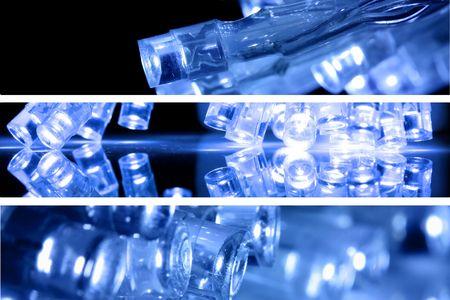 Blue LED lights - multiple images