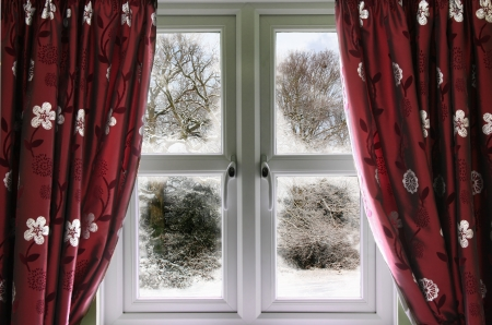 glazing: Winter view from a window Stock Photo