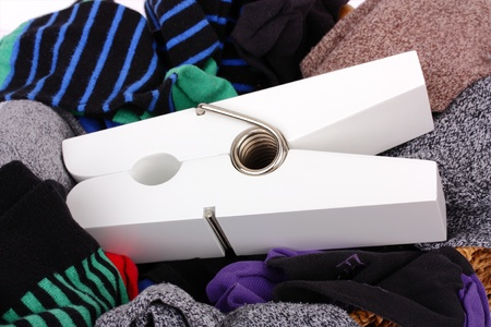 dry cleaned: Laundry with large white peg