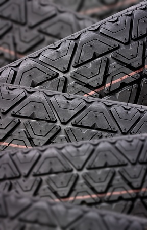Tyres stacked with focus depth Stock Photo - 8966776