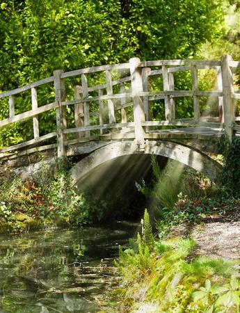 Old bridge in summer sunlight Stock Photo
