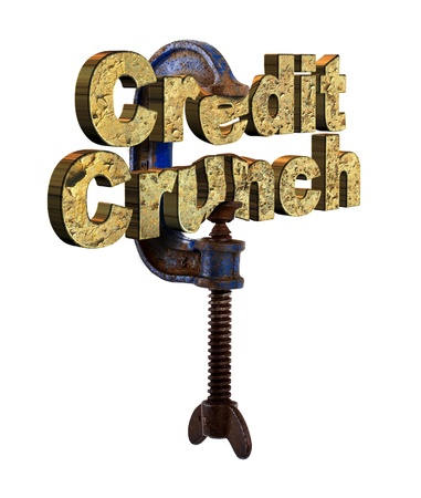 crunch: Credit crunch words in a vice Stock Photo
