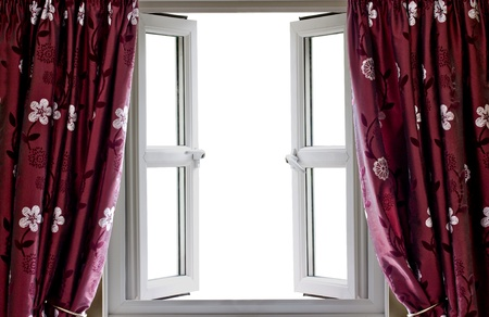 Open window and curtains with a blank white view