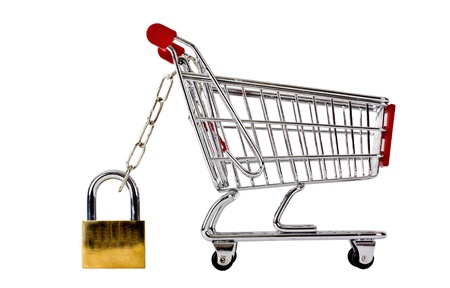 trolly: Trolly secured with padlock isolated