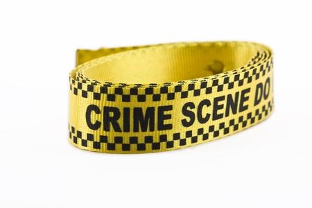 escena del crimen: Banner de escena del crimen en un rollo, aislado en blanco