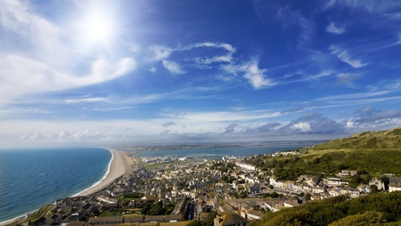 water scape: View over British seaside town and coastline Stock Photo