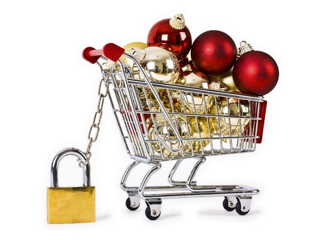Secure Christmas shopping isolated concept