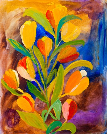 Tulips painting in acrylic by UK artist Kay Gale Reklamní fotografie - 11534727