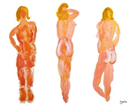cuerpos desnudos: Tres personajes desnudos de modelos femeninos, por detrás, sobre un fondo blanco