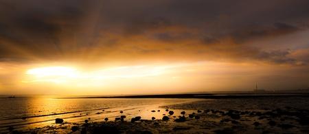 meon: Sunset panoramic sea shore at Meon Beach Stock Photo