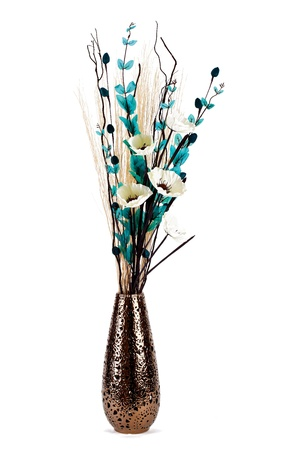 arrangement: Tall stylish flower arrangement in a vase isolated