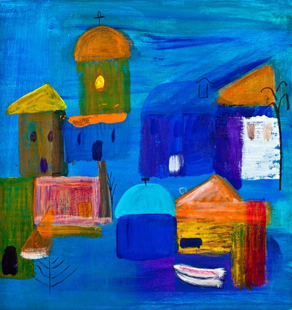 Cubist shapes by the seaside in acrylic by Kay Gale