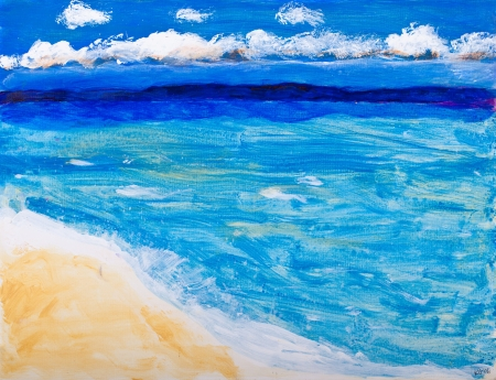 acrylic painting: Beach and ocean vacation painting