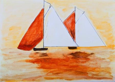 bateau de course: Bateaux à voile de peinture en orange Banque d'images