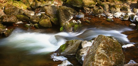 clean water: Blurred river through rocks in landscape view