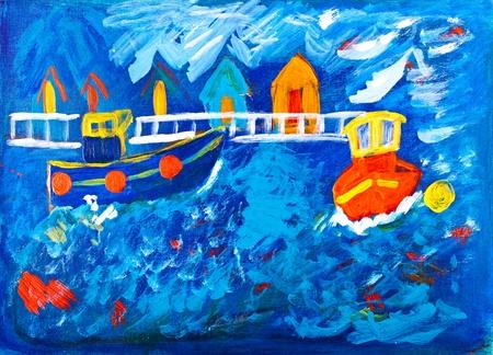 tug boat: Tug boats at sea acrylic painting by Kay Gale