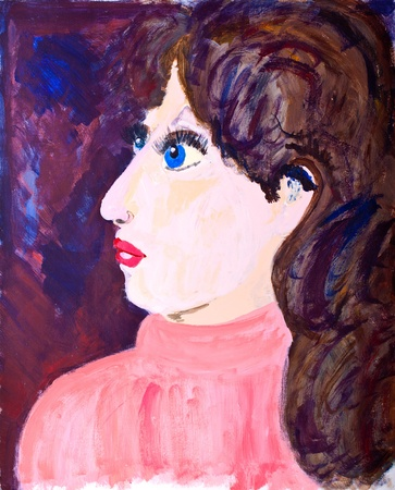 Womans portrait in acrylic painting photo
