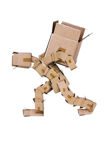 Box character hauling large box 免版税图像 - 13497147