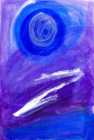 naught: Abstract painting in blue and purple