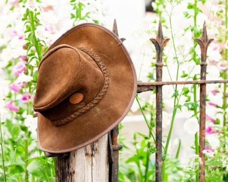 Bush hat on a rusty railing with spring flowers photo