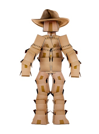 Single box man cowboy character on white photo