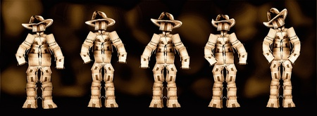 Cowboy boxmen characters with dark background photo