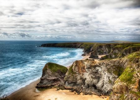 cornwall: Dramatic coast landscape in Cornwall UK Stock Photo