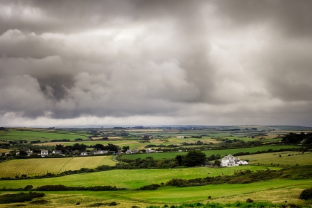 Stormy sky landscape from a high view in Cornwall UK photo