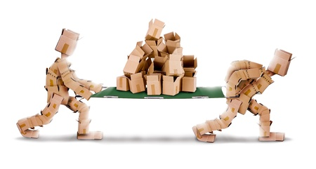 Recycling boxes by box men and stretcher