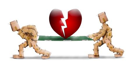 Broken heart carried on a stretcher by box men