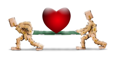 Big love heart on stretcher carried by box men photo