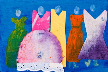 gale: Ladies in dresses abstract painting by Kay Gale Stock Photo