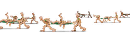 Box men characters carrying bodies on stretchers Stock Photo - 15282032