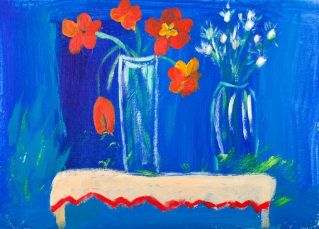 Flowers in vases acrylic painting by Kay Gale photo