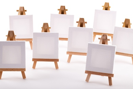 A collection of blank canvases on easels Stock Photo - 15340169