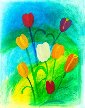 Flowers in nature painting by Kay Gale