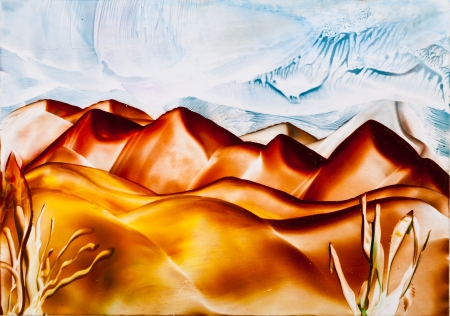 sand dune: Sand dune hills painting Stock Photo